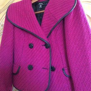 Fuchsia wool-blend waist length jacket